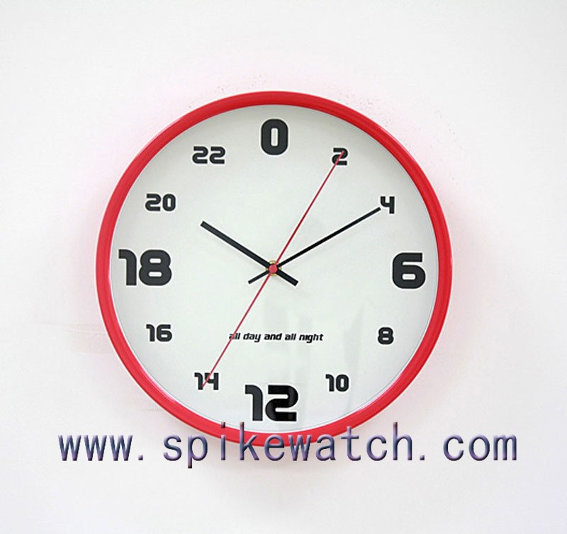 Fancy unique design plastic 24 hour analog wall clock