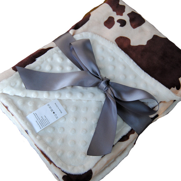 2016 New Design Coffee and White Animal Pattern Heated Baby Blanket