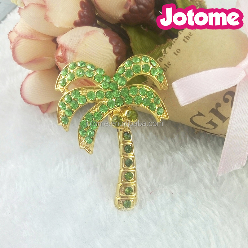 Fashion Custom Decoration Emanel in Zinc Alloy Summer Holiday Rhineston Jewelry Gold Color with Green Coconut Palm Tree Brooches