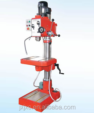 red upright drilling machine