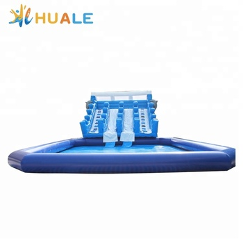 Guangzhou custom large adult size inflatable water slide with pool