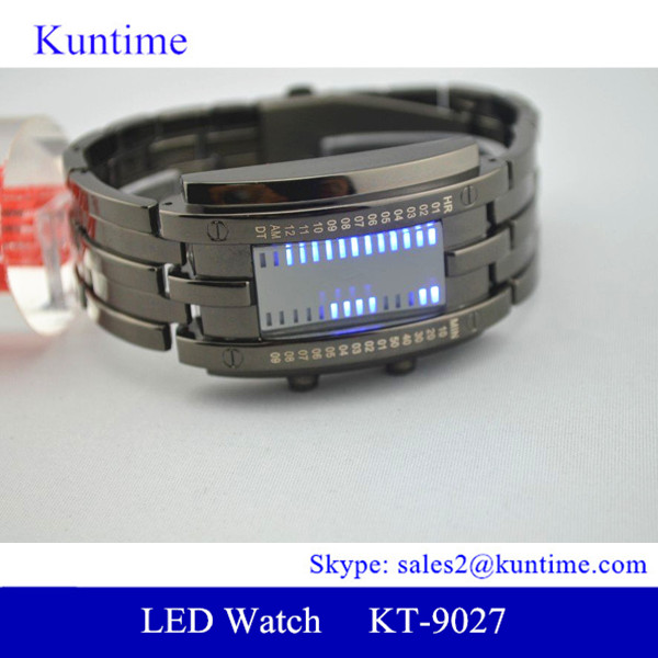 Led stop watch 3 ATM water resistance electroplating gun & silver led stop watch