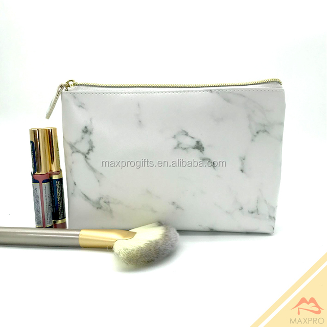 2018 wholesale white marble printing pu toiletry makeup bags