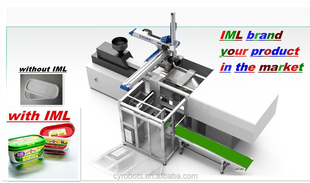 5 axis robot arm IML side entry automation for plastic bucket with spout,chemical bucket,20L red plastic bucket