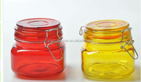 Square airtight glass storage jar with clip lid
