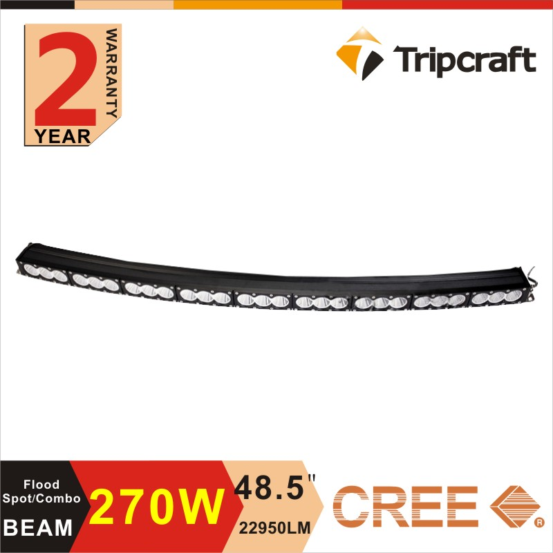 27inch led driving light bars 48 inch single row curved led off road light with Spot/Flood/Combo beam