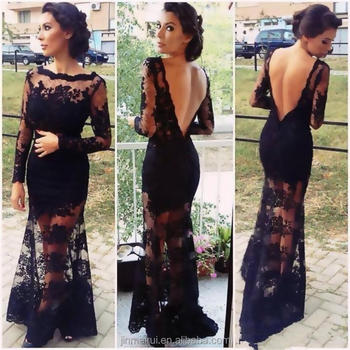 Kim Kardashian See Through Lace Long Sleeve Evening Dress 2017 Backless Black Formal Celebrity Evening Gown Evening Dresses 2015