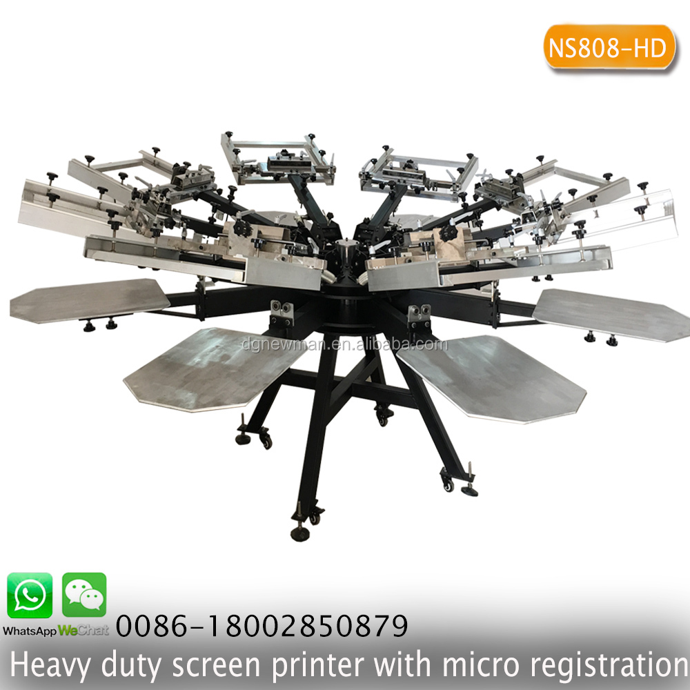 High precision heavy duty 8 color 8 station screen printing machine with micro registration