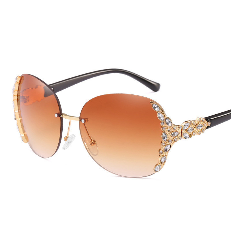 Free shipping Sunglasses Women Square Rimless Diamond cutting Lens Brand Designer Fashion Shades Sun Glasses Female vintage