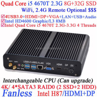 Fanless Mini PC Computers i5 with Intel Quad Core i5 4670T 2.3Ghz CPU VGA DP Three display 8G RAM 32G SSD Windows Linux