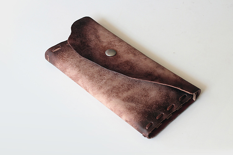 European and American fashion men genuine leather frosted large clutch bags long wallets