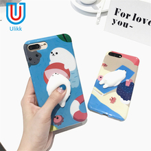3D lovely animals Phone Cases for iphone 6 6s 7 plus Squishy Kneading Cute seal Polar bear Cat Covers for iphone 6s coque Funda