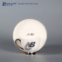 ceramic letter printed coffee cup / porcelain white customized cup company logo design
