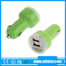 Multipurpose 5V2.1A Colorful double chargeur de voiture USB pour iPad et Smart Phone