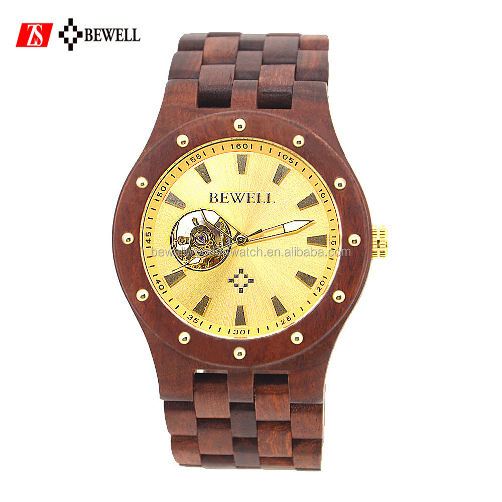 ROHS and CE certificate 2017 Bewell ZS roles watches men gold luxury mechanical wooden watch