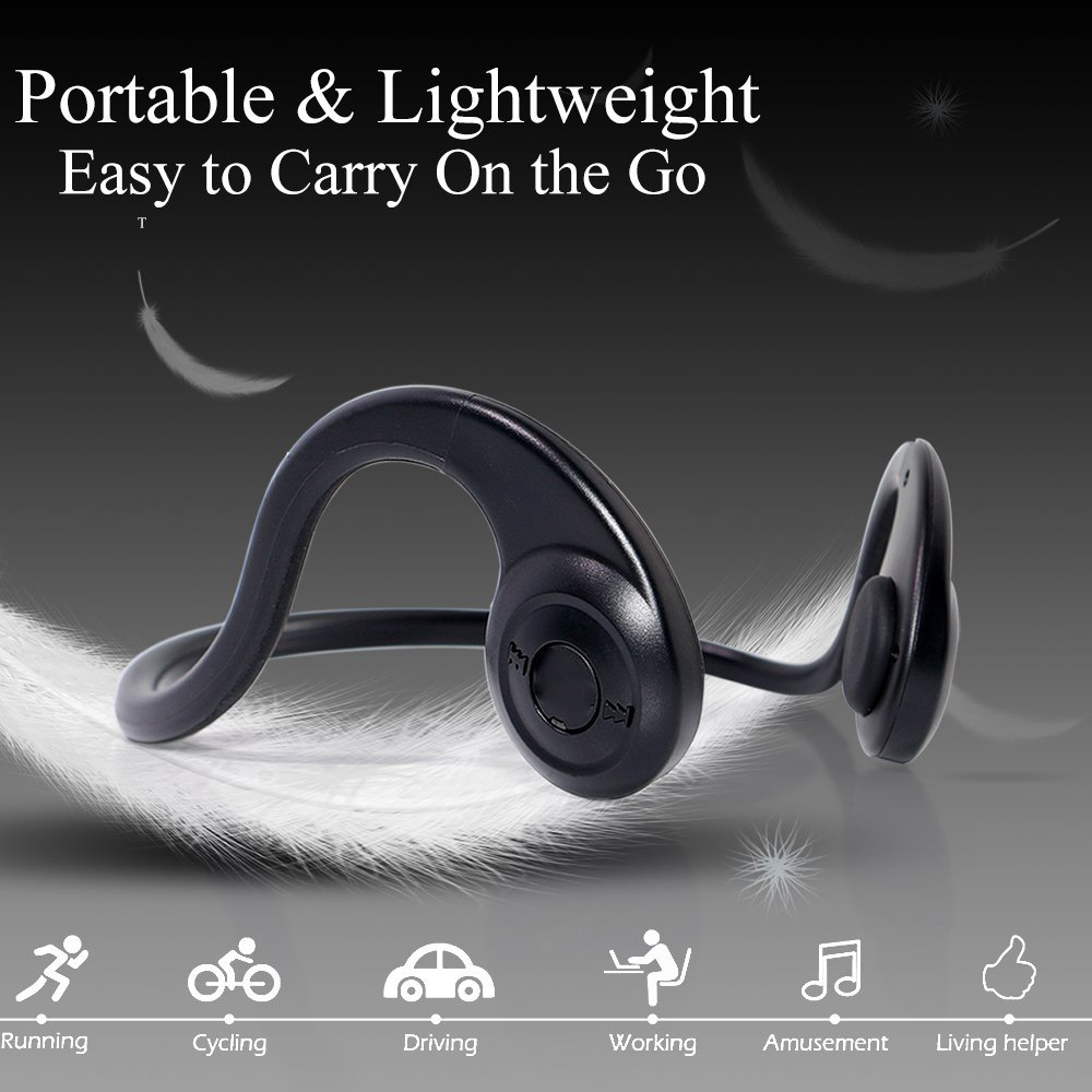 Open Ear Wireless Bone Conduction Headphones Bluetooth Over-Ear Stereo Sport Headset for iPhone iPad,Smartphone,Tablets, Laptop