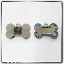 Custom QR code metal dog pet id hang tag identification tags