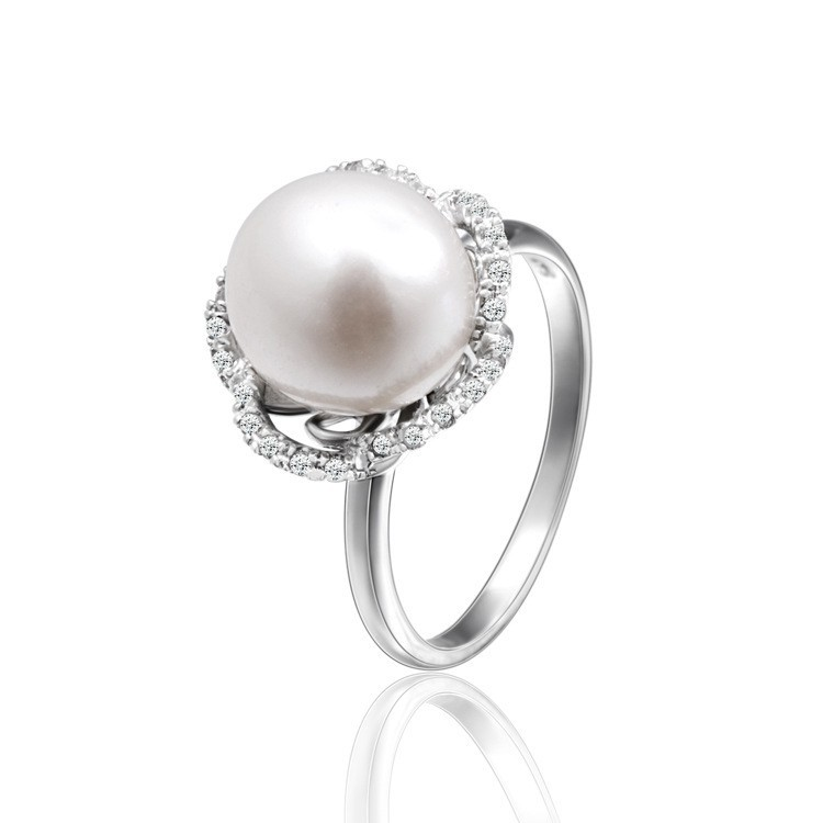 SJ RS03180 Latest Fashion Faux Pearl 925 Sterling Silver Rhodiium Plated Five Petal Women Flower Pearl Ring for Gift