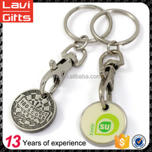 Wholesale metal shopping cart chip trolley coin keychain