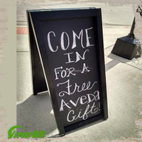Black Wooden Chalkboard with Stand , Sign Stand , Pavement Sign