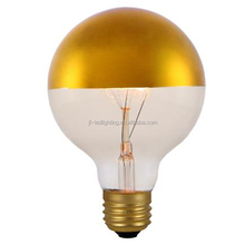 2017 New Metallic Dimmable Incandescent Bulb Half Gold Light Bulb Top Mirror Lamp