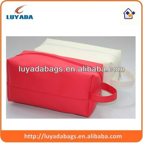 2016 toiletry bag brands pu leather cosmetic pouch,handle cosmetic pouch