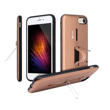 2 in 1 TPU PC Combo Phone Case For IPhone 8 With Metal Kickstand And Slide Finger Holder