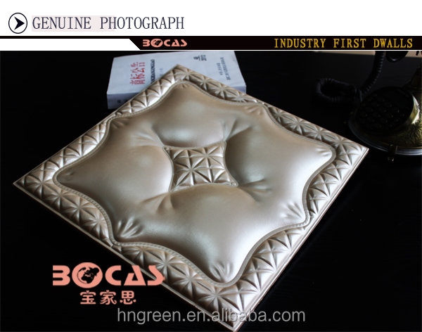3D empaistic PU Leather Wall Ceiling <strong>Panel</strong> for Living Room Sofa TV back ground