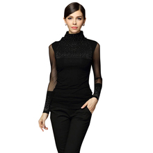 2017 Fashion Women Black Sexy Turtleneck Diamond Design Perspectivity Elastic Turtleneck sweater Basic Long-sleeve Top Sweaters