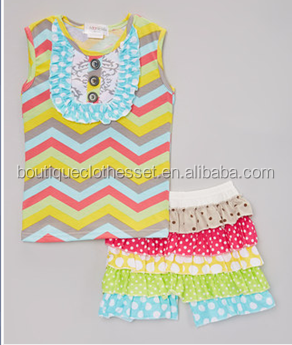 wholesale clothing manufacturer overseas layered ruffles chevron shorts set girls wholesale boutique clothing