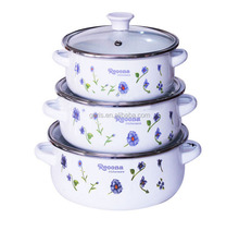 GRS 3 pcs enamel pot set.Enamel Cookware set .