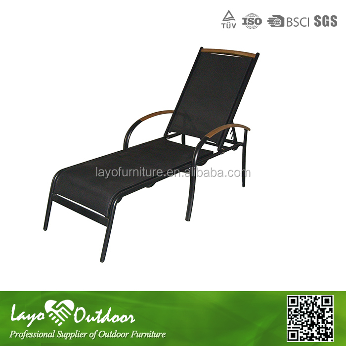 Alum Frame Chaise Lounge Teak Wood Armrest Lounge Furniture Outdoor Furniture