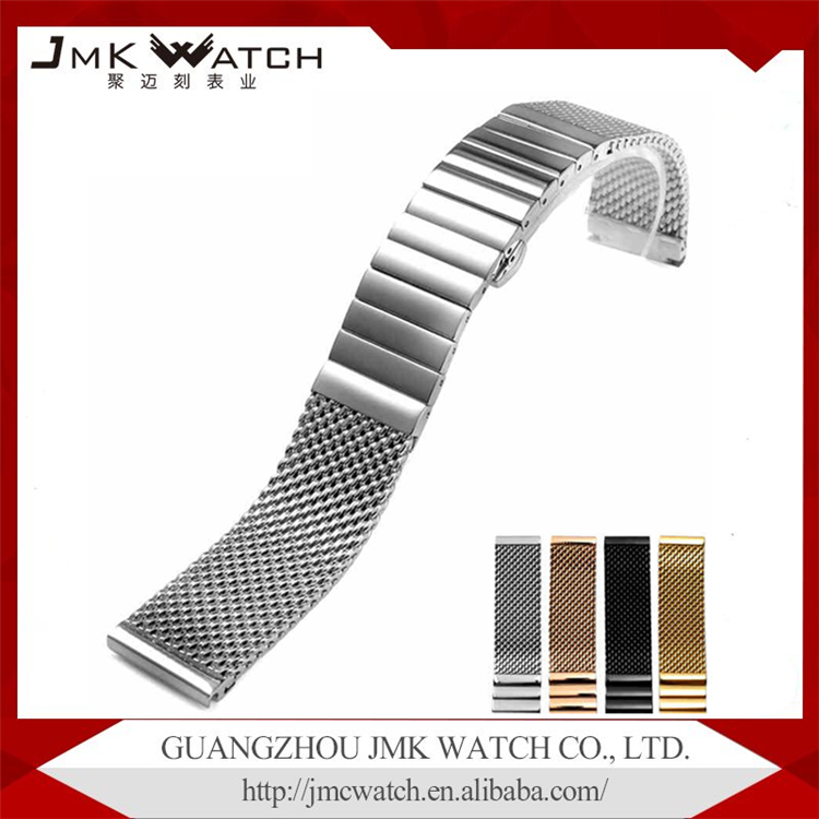 china product suppliers stainless steel adjustable wrist watch band metal watch strap for watch with butterfly folding buckle