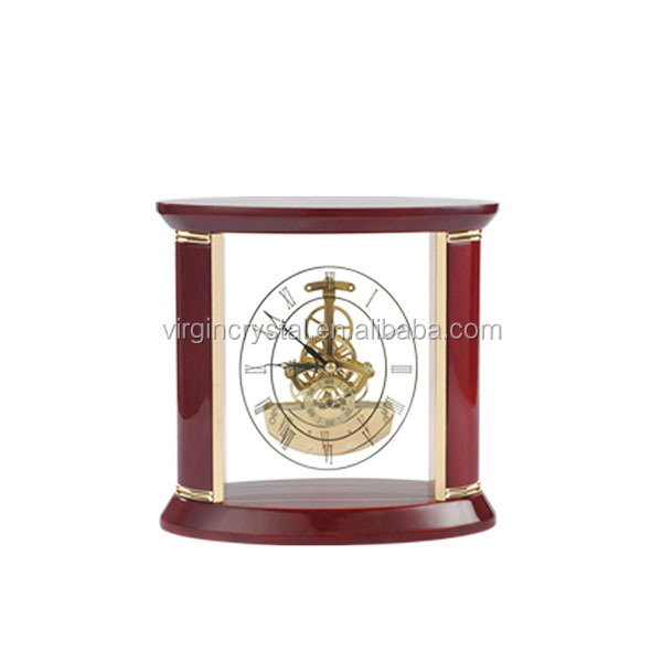 Factory Price Red Wooden Mechanical Desktop Clock For Birthday Souvenirs