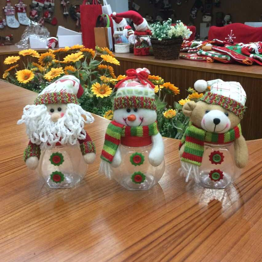 Newest Christmas Jar_Santa Claus Snowman Lid Christmas Candy Jars Cheap for Home Decoration