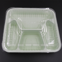 Customized disposable thin rectangular food clear blister plastic clamshell containers box for food
