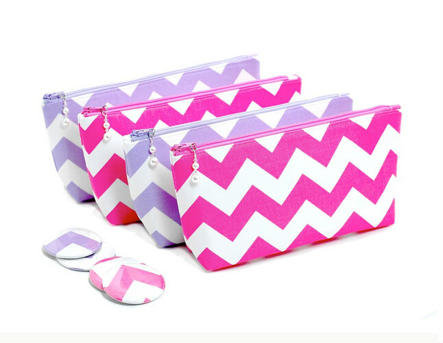 CT0115 Bagtalk Wholesale Korean Cheap Chevron Clutch Makeup Cosmetic Bag With Flat Zipper