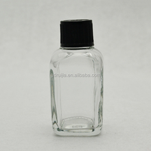 glass material square clear bottle childproof lid bottle for smoke juice