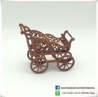 Brown Wooden Dolls House Furniture Inch To Scale Baby Strollers