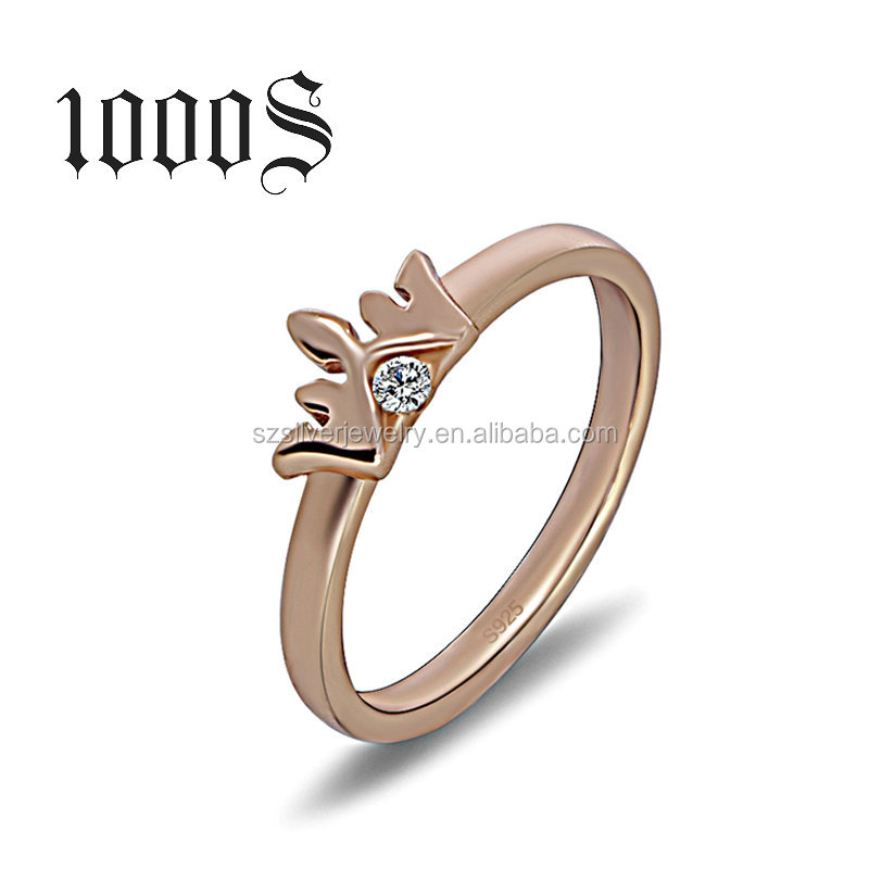 Gold Ring Designs for Girls Crown Symbol Thin 925 Sterling Silver Rosegold Ring