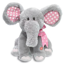 Musical Pink Girl Elephant Plush Toy Bowknot Wholesale Cheap Soft Plush And Stuffed Elephant Toys With Big Ears