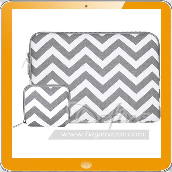 Chevron canvas laptop sleeve with small case