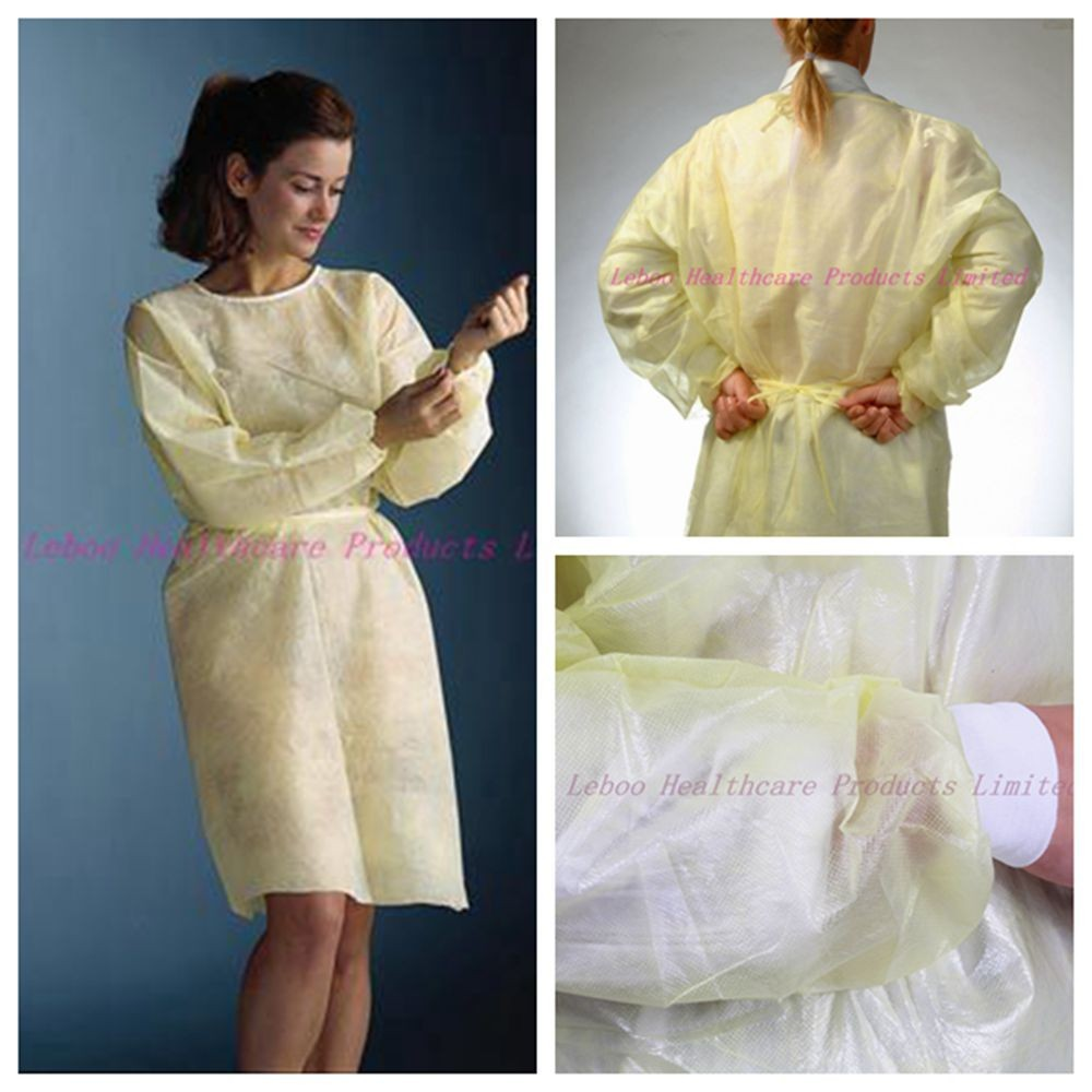 Disposable yellow isolation coverall widely used in medical and food processing
