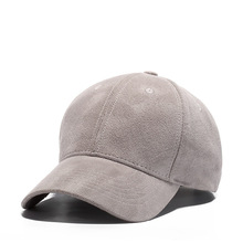 Mid-profile grey blank six panels suede brim baseball caps for Spring