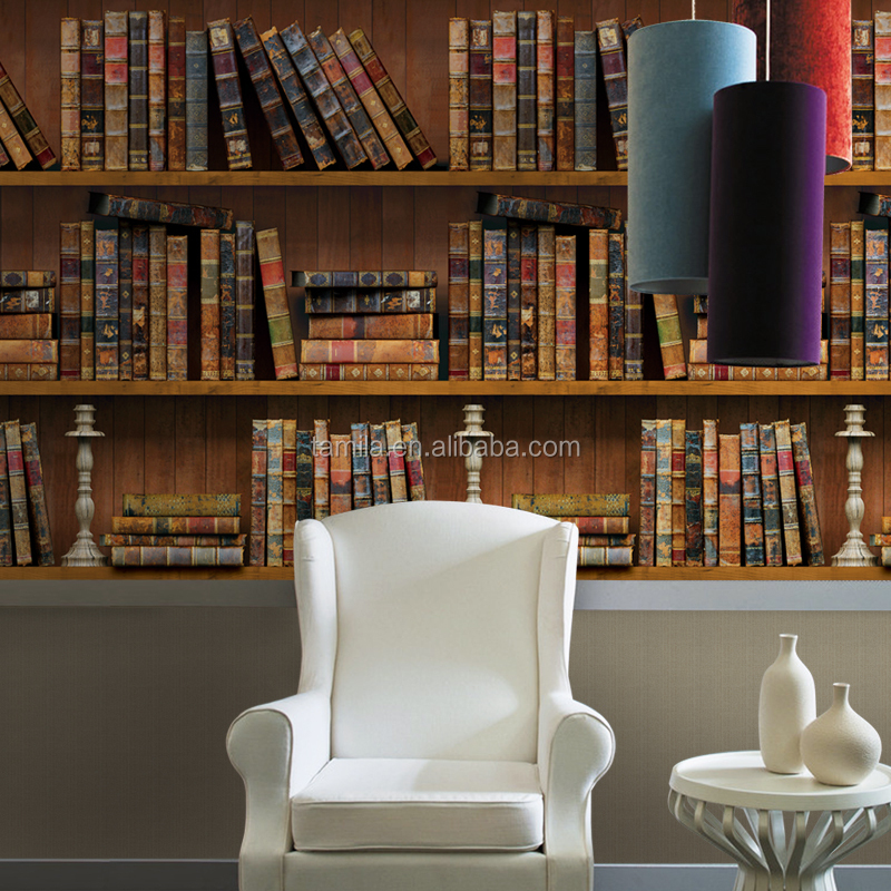Books Design Digital Printing Real 3D Study Room Wallpaper
