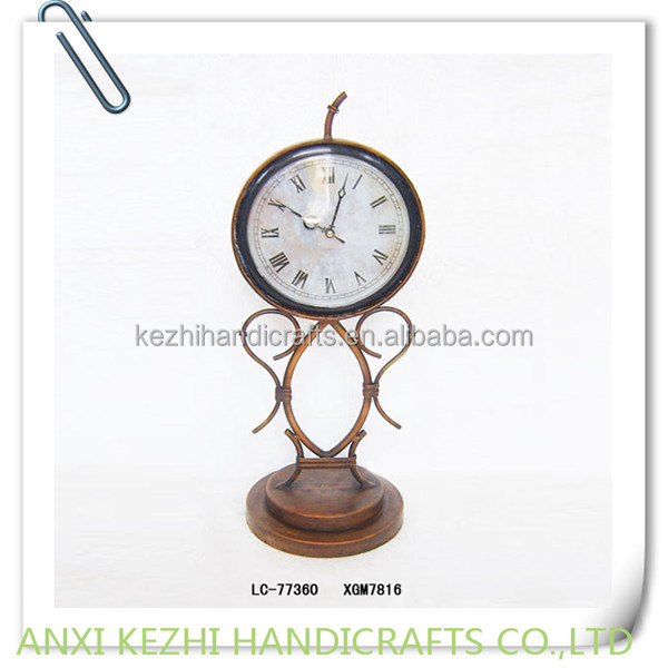 antique metal table clock