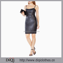 Newest Apparel Designs Wholesale Dress Adjustable Straps Black Allover Gilttering Sequins Embellished Sexy Bodycon Women Dress