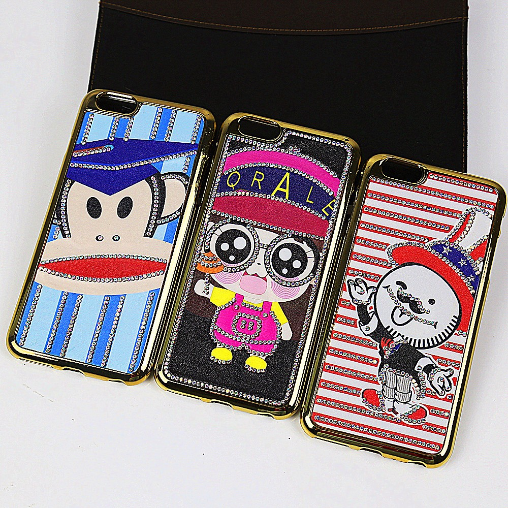 high quality!luxury cute cartoon patch stick diamond plating tpu smartphone shell for ht desire 828