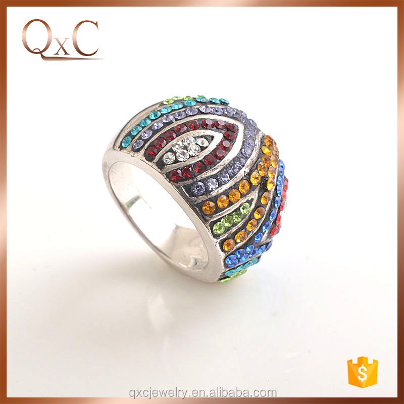 Colourful Silver Imitation Ring Jewelry Custom Engagement Ring engagement mood ring color