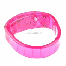 Sound Control Voice & Motion Activated Flashing LED Light Up Bracelet Bangle,Party Concert KTV Glow Flash